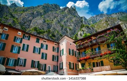 houses and mountains in the small town Limone sul Garda, Lake Garda, Italy
