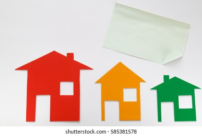 Houses multicolored on white background, Mock Up.