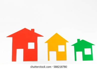 Houses multicolored on white background.