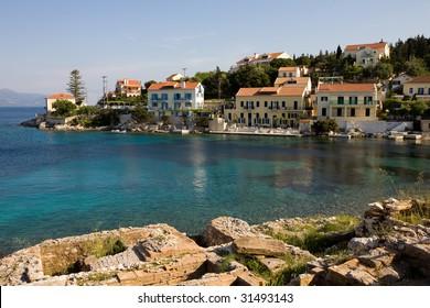 Houses near the beach. Fiskardo, Kefalonia Island. Greece