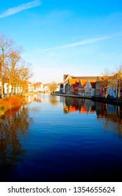 Houses near the canals of the river Reie in Bruges. Bruges is a wonderful, romatic city in Belgium, one of the Benelux countries in Europe.