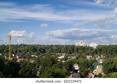 houses next to the river, in Chernihiv,  Ukraine, with construction