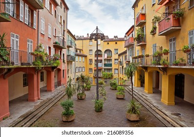 Houses in the old district of the city of Nice, France