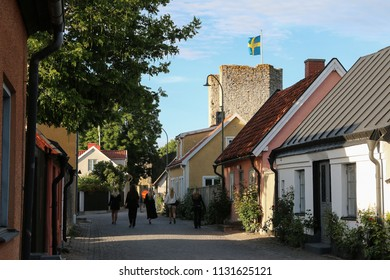 Houses in the old town of Visby, Gotland Sweden.