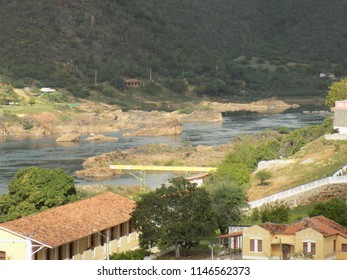 Houses on the banks of the river Sao Francisco, Brazil