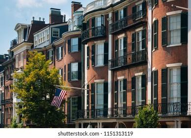 Houses on Beacon Street, in Beacon Hill, Boston, Massachusetts