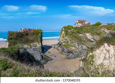 Houses on the cliffs in Newquay Cornwall