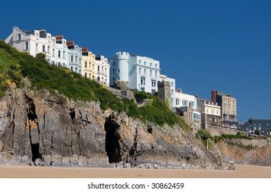 Houses on cliffs. Tenby, Wales.