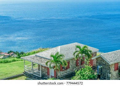 Houses  on the coast at Fairview Great House in St Kitts, Eastern Caribbean