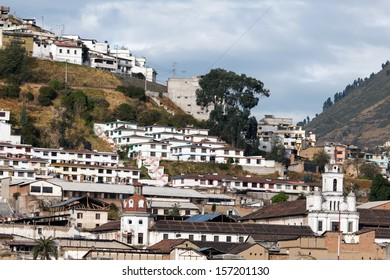 Houses on the El Panecillo hill in Quito, Ecuador