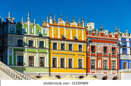 Houses on Great Market Square in Zamosc. UNESCO heritage site in Poland