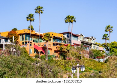 Houses up on a hill on a residential part of San Diego, California