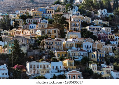 Houses on the hillside, Symi Town, Dodecanese, Greece.