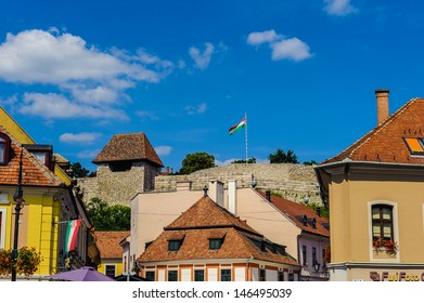 Houses on the Istvan Dobo square, Eger, Hungary