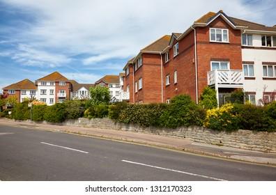Houses on the Lyme Regis street. West Dorset. England