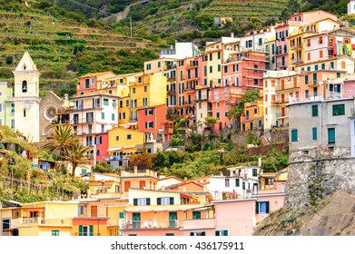 Houses on the mountains of Manarola (Manaea), a small town in province of La Spezia, Liguria, Italy. It's one of the lands of Cinque Terre, UNESCO World Heritage Site