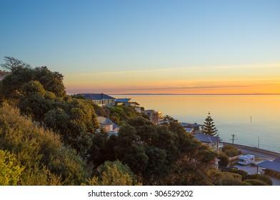 Houses on Olivers Hill overlooking the Mornington Peninsula Sunset, Australia