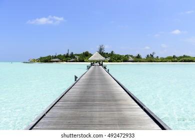 houses on piles on sea. Maldives