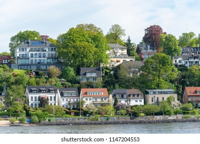 Houses on the river banks of the Elbe river in Hamburg, Germany