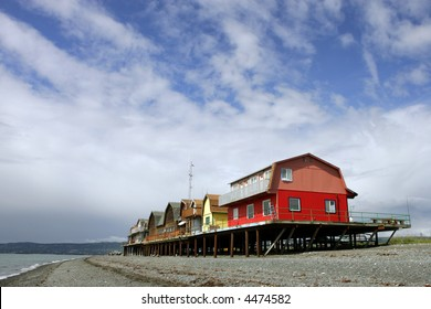 Houses on stilts on the beach  in Homer, Alaska