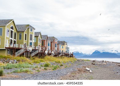 Houses on stilts in Homer, Alaska