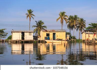 Houses on stilts in the village of Ologa, Lake Maracaibo, Venezuela