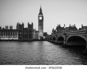 Houses of Parliament aka Westminster Palace at night in London, UK in black and white