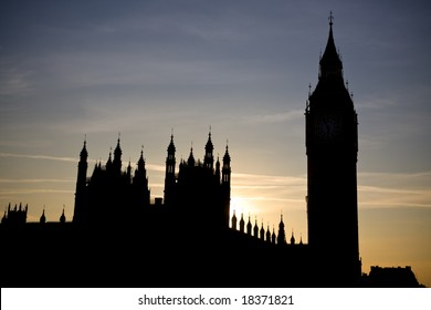 Houses of Parliament and Big Ben, London UK, silhouette of skyline at sunset