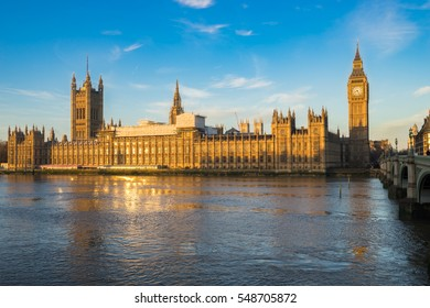 Houses of Parliament and Big Ben on an early morning shot in central London, UK