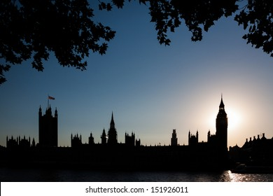 Houses of Parliament and Big Ben silhouette at sunset, London