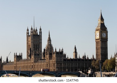 Houses of Parliament and Big Ben with Westminster Bridge