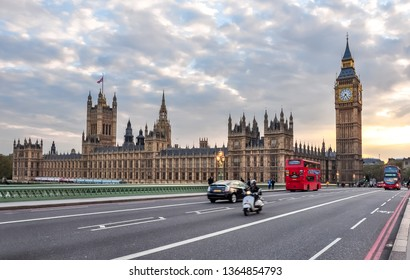 Houses of Parliament and Big Ben from Westminster bridge at sunset, London, UK