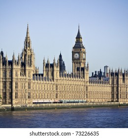 Houses of Parliament and Big Ben in Westminster, London. Clear summer sky.