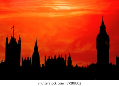 The Houses of Parliament, London in red sunset silhouette