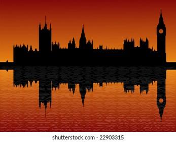 Houses of parliament London reflected at dusk illustration JPG