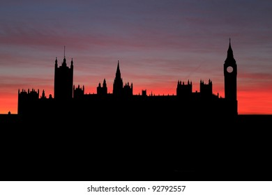 Houses of Parliament London at sunset illustration