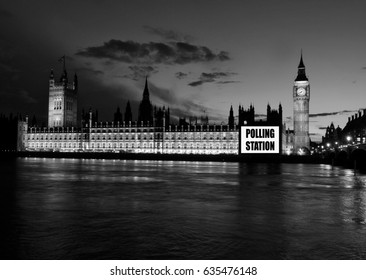 Houses of Parliament as a Polling station (place for voters to cast ballots in general elections) in black and white