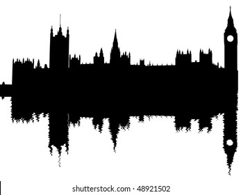 Houses of Parliament reflected with ripples illustration JPEG