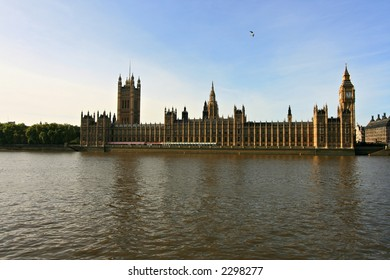 The Houses of Parliament at the River Themes in London, UK