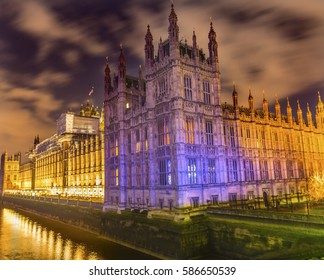 Houses of Parliament Thames River Westminster Bridge Night  Westminster London England.  Named after the Bell in the Tower. Has kept exact time since 1859.