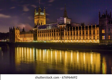 Houses of Parliament Thames River Westminster Bridge Night Westminster London England.  Built in the 1800s, House of Commons and House of Lords.