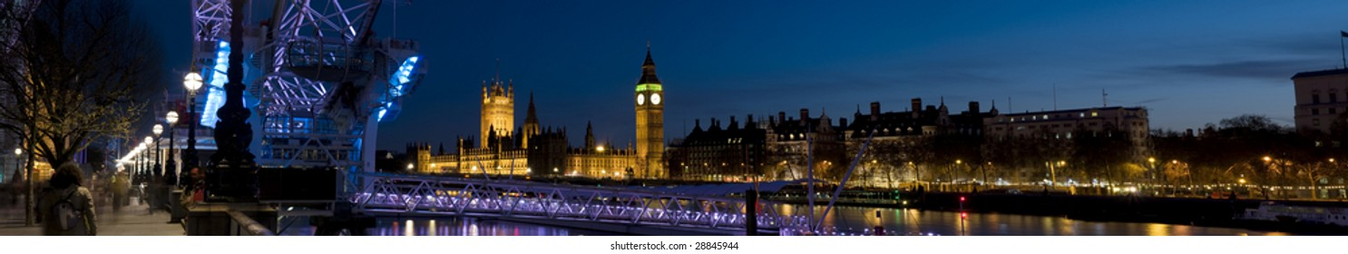 Houses of Parliament at Twilight.Panoramic picture of Westminster at Twilight.