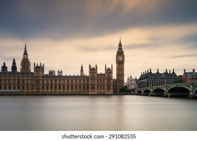 Houses of Parliament under a cloudy sky - Long Exposure version, London, England