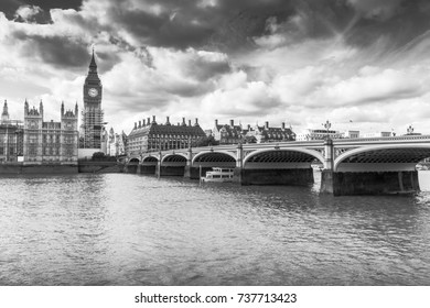 The Houses of Parliament and Westminster Bridge in black and white, London England, 29th of September 2017