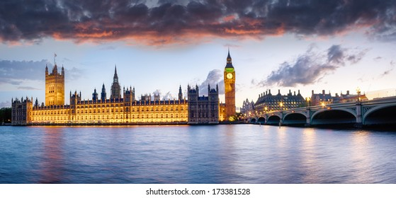 The houses of Parliament and Westminster Bridge under a sunset sky