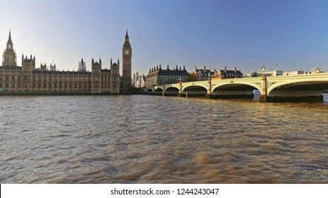 Houses of Parliament and Westminster Bridge at Winter in London