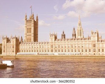 Houses of Parliament, Westminster Palace, London gothic architecture vintage
