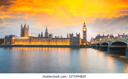 Houses of Parliament in Westminster at sunset - London.