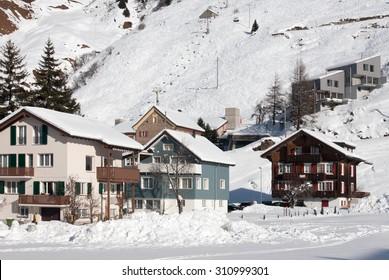 Houses in the picturesque ski resort of Andermatt, Switzerland
