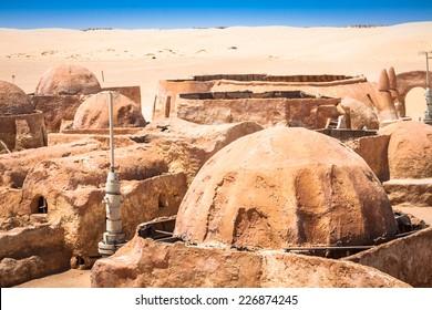 The houses from planet Tatouine - Star Wars film set,Nefta Tunisia.